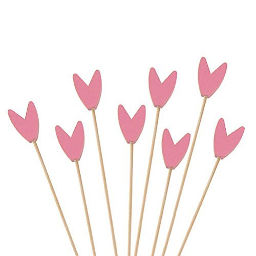 (BambooMN Premium Decorative Tulip End Cocktail Fruit Sandwich Picks Skewers for Catered Events, Holiday's, Restaurants or Buffets Party Supplies - Pink, 5.9