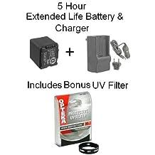 Replacement 5 Hour Battery For Panasonic VW-VBG260 VW-VBG130 Battery + 1 Hour Charger For Panasonic HDC-HS700K HDC-TM700K TM300 With Bonus 46MM UV Protective Lens Filter