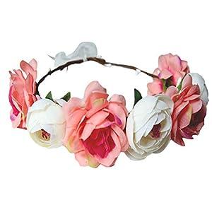giveyoulucky Bride Wedding Artificial Flowers Headband Hair Band Garland Wreath Beach Party 19
