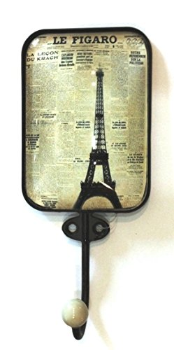 Acrylic Dome Knobs (Wall Hook - Metal hook with Eiffel Tower & Le Figaro Design with Porcelain Knob)