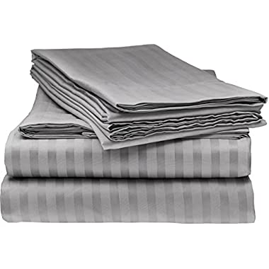 ITALIAN Prestige Collection 4PC FULL Striped Sheet Set, GREY