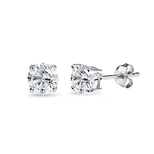 Sterling Silver Created White Sapphire 5mm Round-Cut Solitaire Stud Earrings