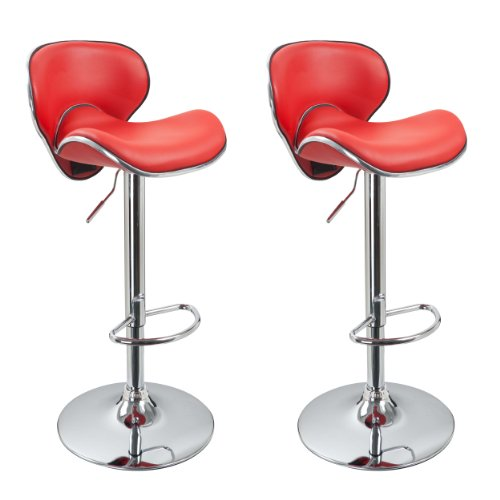 Duhome 2 PCS Synthetic Leather Saddle Seat Adjustable Swivel Bar Stool Kitchen Counter Height Chairs (Red) Review