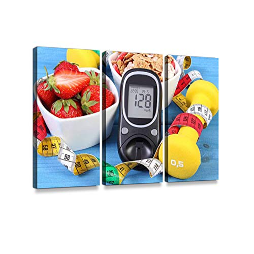 Glucometer with Sugar Level, Healthy Food, Dumbbells and Centimeter Print On Canvas Wall Artwork Modern Photography Home Decor Unique Pattern Stretched and Framed 3 Piece
