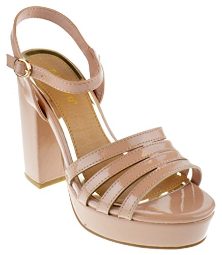 Bamboo Current 12s Womens Chunky Heel Platform Sandals Nude Patent 8.5