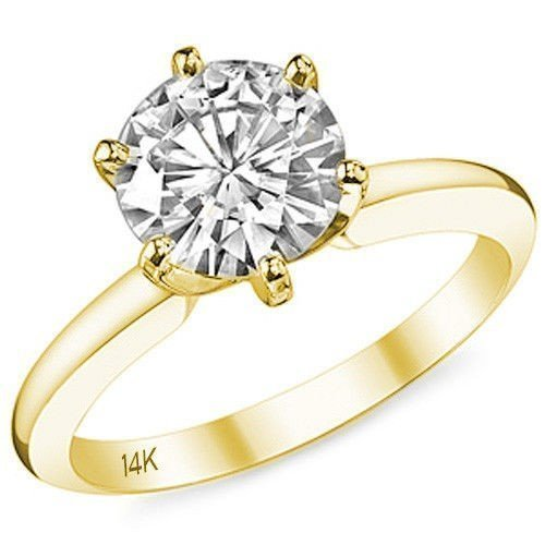 14K Yellow Gold CZ Engagement Ring Solitaire 6 Prong Plain Band Setting (2 Carat) Best Quality Cubic Zirconia (Solid Gold Cz Engagement Ring)