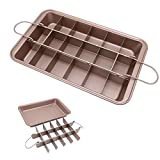 Brownie Pan, Non Stick Brownie Pans With Dividers, FDA Approved 18-Lattice Brownie Baking Tray, Carbon Steel Bakeware for Oven Baking, Size 12 X 8 X 2 Inches