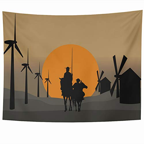 Ahawoso Tapestry 80x60 Inches Swatch Indian Hippie Don Quixote De Ethnic La Mancha Cervantes Spanish Novelist Windmills Mexican Wall Hanging Home Decor Tapestries for Living Room Bedroom Dorm