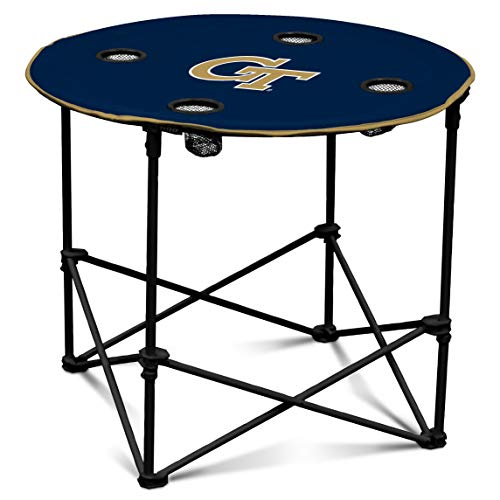 (Georgia Tech Yellow Jackets Collapsible Round Table with 4 Cup Holders and Carry Bag)