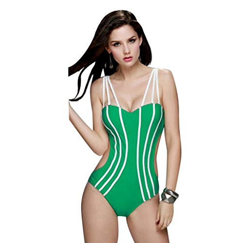 Zmart Women's Sexy Strappy Sweetheart Push up Monokini One-Piece Swimsuits,Green,Label size M=US S (4,6)