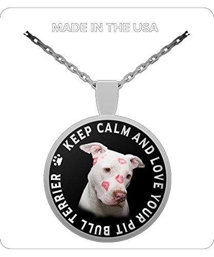 Collar con colgante y pulsera para amantes de los perros Pitbull con texto en inglés Keep Calm And Love Your Pit Bull...