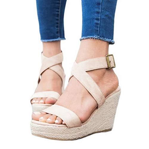 Womens Wedge Platform Espadrille Strappy Sandals Cross Ankle Strap Slingback Open Toe High Heel Summer Sandals Light Khaki