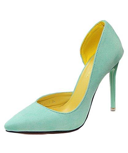 Claro Caramelo Verde Verano Mineroad Color Punta Estiletes Del Elegantes De De Tacon Mujer Zapatos FpqRwaO
