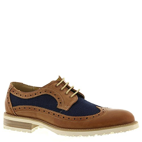 Steve Madden Mens Remaine Leather Wing Tip Oxford Shoe, Tan/Blue, US 9.5