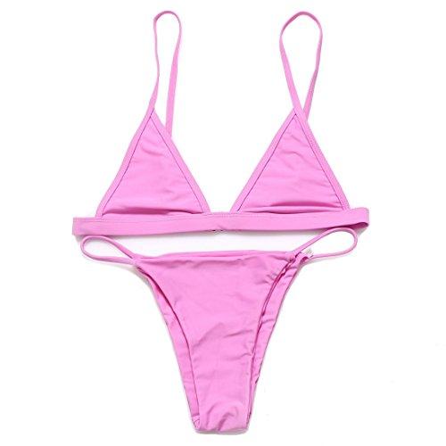 RELTANGL Women's Halter Top Tie Side Bottom Swimwear Bikini Set, Small, Pink