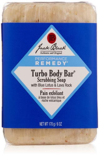 Jack Black - Turbo Body Bar Scrubbing Soap, 6 oz - Men's Soap with Blue Lotus and Lava Rock, Moisturizing Murumuru and Shea Butters, Ginkgo Biloba, Aroma Combats Fatigue, Stimulates Senses -