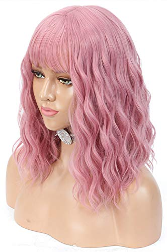 Lizzy Hair Pastel Pink Wigs for Women 14inch Natural Looking Short Bob Curly Wig with Air Bangs Charming Pink Wig