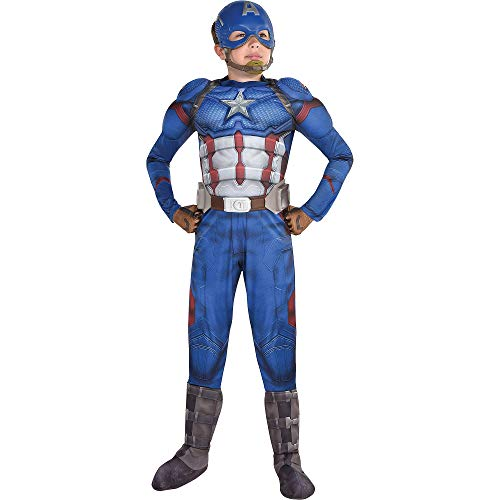 Party City Avengers: Endgame Captain America Muscle Costume for Children, Size Medium, Includes a Mask, Gloves, and Belt -