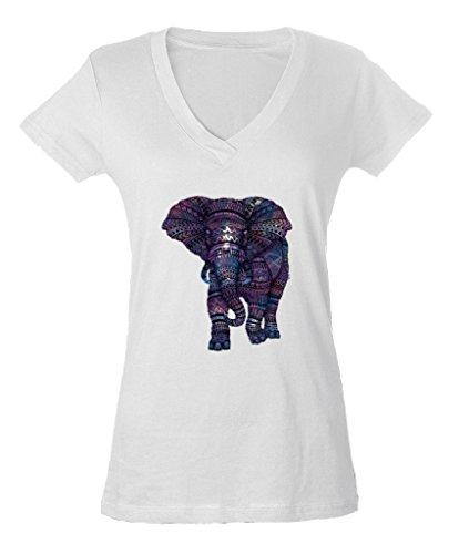 Elephant V-neck - Pastel Elephant Graphic Ladies V-Neck T-shirt Love of Elephant Shirts X-Large White a19