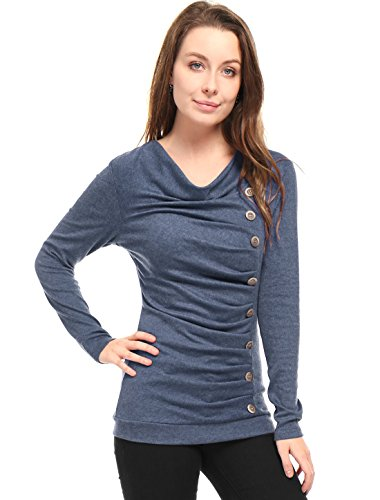 (Allegra K Women's Cowl Neck Long Sleeves Buttons Decor Ruched Top Blue L (US 14))