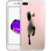 Running Horse Clear Phone Case for iPhone 7 Plus 5.5 Customized Design by MERVELLE TPU Clear case [Ultra Slim, Anti-Slippery]