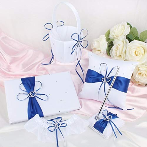 BeesClover 5pcs/lot Wedding Guest Book and Pen Sets Brand Ring Pillow Flower Basket for Wedding Decoration Event Party Supplies 8 Colors Ivory