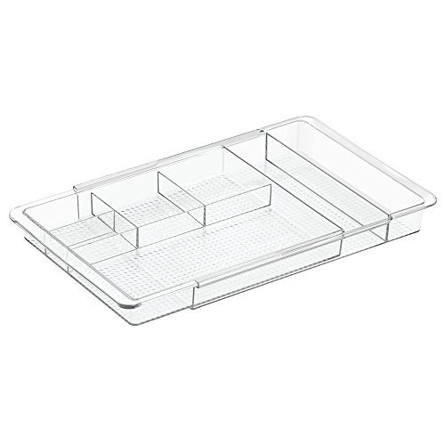 InterDesign Expandable Cosmetics Drawer Organizer Tray for Vanity Cabinet – Ideal for Makeup, Cosmetics or Beauty Accessories, Clear (Expandable Drawer Organizer)