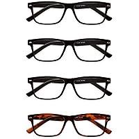 Readers.com The Mallard Four-Pack Bundle Retro Square Readers Multi-pack Reading Glasses