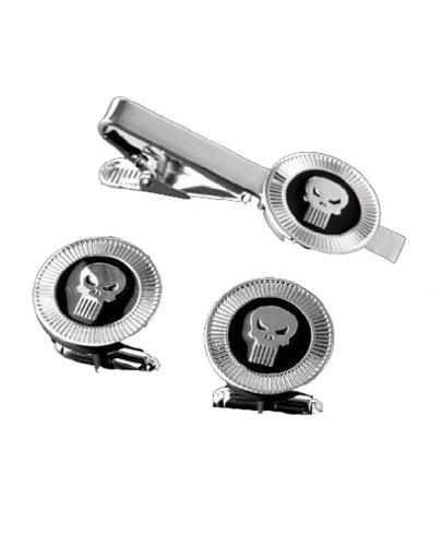 Fashion Jewelry ~ Silvertone Punisher Tie Clips & Cufflinks Set (A89)