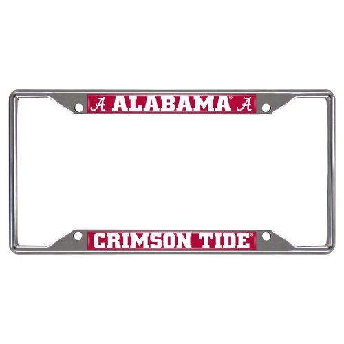 FANMATS NCAA University of Alabama Crimson Tide Chrome License Plate Frame (Alabama Metal)
