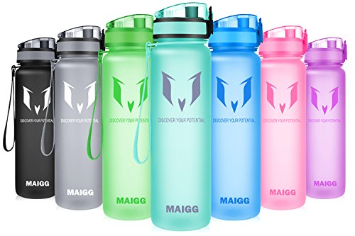 MAIGG Best Sports Water Bottle - 17oz & 32oz - Eco Friendly & BPA-Free Plastic - Fast Water Flow, Flip Top, Opens With 1-Click - Reusable with Leak-proof Lid (Aquamarine, 500ml-17oz)