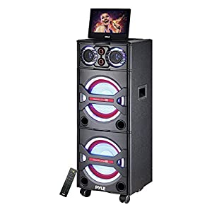 Pyle PKRK215 Bluetooth PA Loudspeaker Karaoke Entertainment Audio & Video System, Wireless Mic