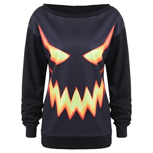 Unique Halloween,Gillberry Women Hooded Pumpkin Face Printed Drawstring Hoodie Sweatshirt Tops
