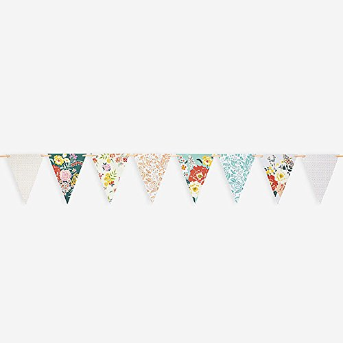 Paper Source, Garden Party Banner, Floral Pennant Flags - 15 ft