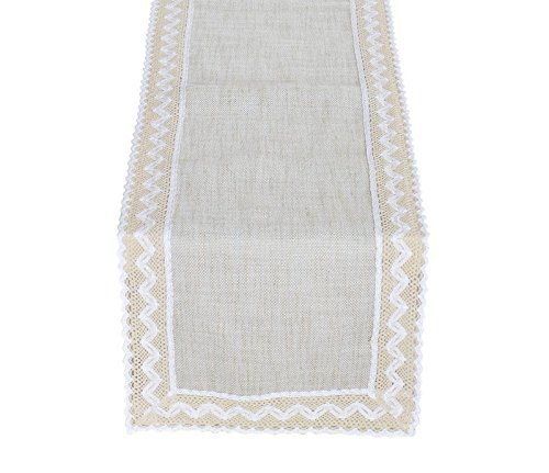 Yoovi Cotton and Poly Blend Table Runner with Decorative Bor