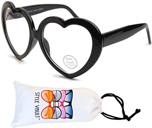 [Wm543-vp Style Vault Heart Sunglasses (B3381F Black-Clear Lens, uv400)] (70s Plastic Halloween Costumes)