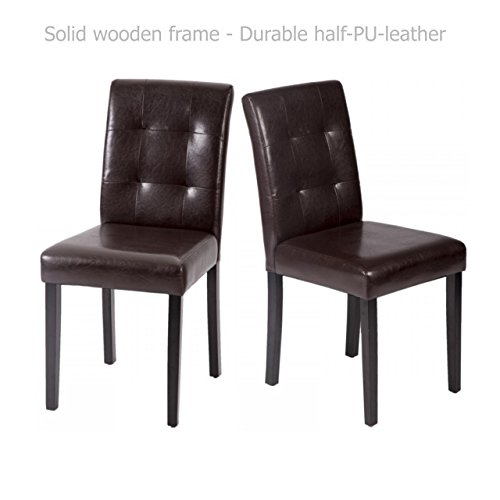 Modern Dining Chairs Sturdy Wooden Frame Tufted Backrest Design Half PU Leather Seats Home Office Furniture Decor - Set of 2 Brown #1550 (Repair Furniture Miami Rattan)