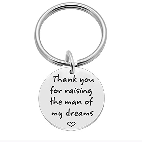 Thank You for Raising The Man of My Dreams, Mothers Day Mom in Law Keychain Gift, Unique Keychains Gifts for Wedding Mother Father in Law (You Wedding Thank Keychains)