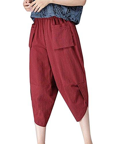 Rot Style Tempo Vintage Fashion Pantaloni Eleganti Monocromo Estivi Ragazze Lino Vita Accogliente Libero Tasche Sciolto Pantaloni Harem Capri Pantaloni Donna Pantaloni Pantaloni Festa Elastica Con qfw8xpvS4