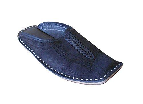 kalra Creations Hombre tradicional étnico Slipper–Zapatos de piel negro