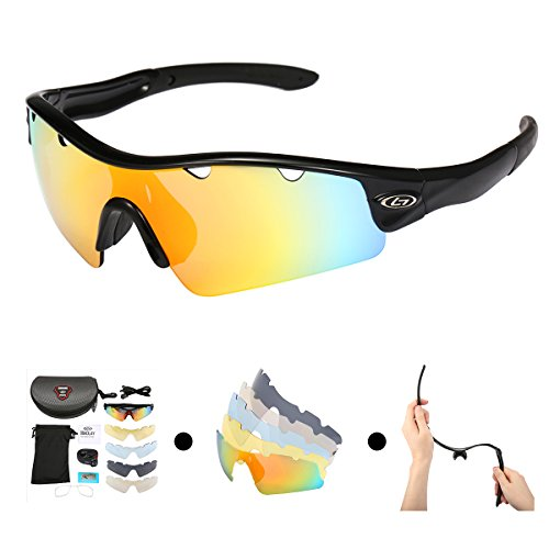 OUTERDO REVO Sports Polarized Sunglasses for Men and Women Cycling UV Eye Protection Windproof Glasses with 5 Lens for Outdoor Golf Running Driving Hiking Shooting Fishing Biking - Lenses That To Sunglasses Change