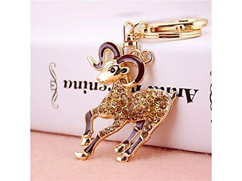 Car Keychain, Cute Shiny Rhinestone Goat Keychain Animal Key Trinket Car Bag Key Holder Decorations(Golden) for Gift by Huasen
