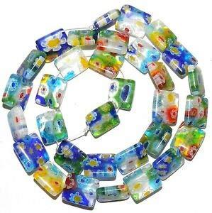 Steven_store G3577 Mosaic Multi-Color Flower 12mm Flat Rectangle Millefiori Glass Beads 14