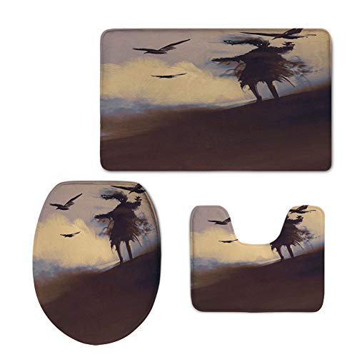 iPrint Fashion 3D Baseball Printed,Horror Decor,Dark Soul from a Scary Movie Film on The Hills with Clouds and Flying Crows Print,Black,U-Shaped Toilet Mat+Area Rug+Toilet Lid Covers 3PCS/Set by iPrint