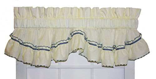 Window Toppers Jenny Country Ruffle Shaped Valance Curtain - 3 inch Rod Pocket, Slate