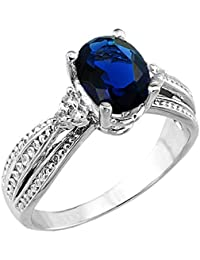 Fancy 10k White Gold Diamond Band Oval Sapphire Engagement Ring