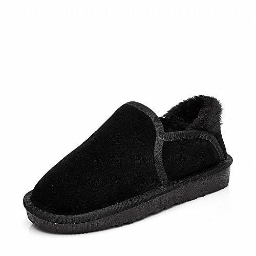 Algodón Casual Zapatos de Terciopelo Sra de de Botas Grueso de Botas Negro la Cálido Planos Más Invierno Nieve xzYPwqFq