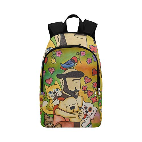 JXCSGBD Beautiful Portrait Saint Francis Assisi Hand Stock Illustration Casual Daypack Travel Bag College School Backpack for Mens and Women ()