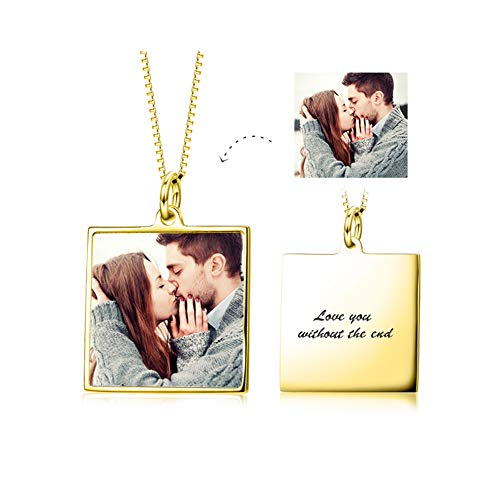 - LONAGO Full Color Photo Picture Personalized 925 Sterling Silver Necklace Custom Etched Dog Tag Image Pendant with Message Name (Square/Gold-Plated-Copper)