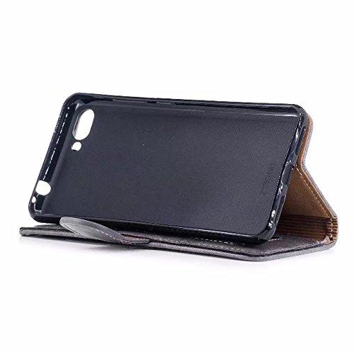 SRY-Funda Cubierta de la caja del tirón del cuero de la PU de la calidad genuina elegante con el acollador y ranuras para tarjeta para Asus Zenfone 4 MAX ZC554KL Protege tu teléfono ( Color : Rosegold Gray